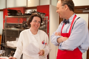Erin, our test kitchen director, arguing yet another culinary point (and winning)!