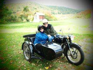 Ken (cameraman) and Brenda taking a ride on the last day...it is a Chinese bike.